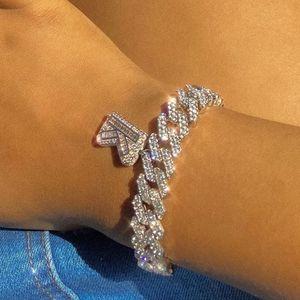 Bracelet de designer Bijoux de luxe HIP HOP MIAMI CUBAN LINK BRACELETS LDCÉTULES Lettre pour femmes Bling Baguette Lettre A-Z Initials Juifsirys