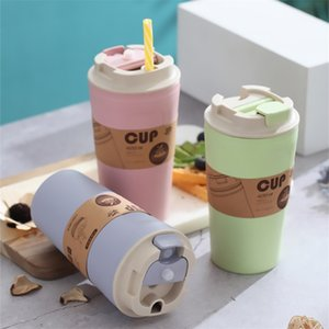 Coffee Mug Travel Portable With Straw Tea Wheat Cup Office LeakProof Milk Creative Gifts Couple 210423