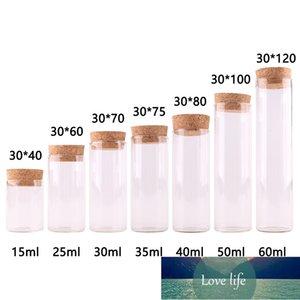 Dia 30mm: 15 ml 25ml 30 ml 35ml 40 ml 50 ml 60mlTransparent Cam Test Tüpü Şişeler Teraryum Mantar Stoper Cam Konteyner ile 24 adet