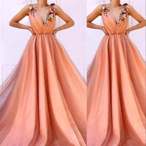 2021 Peach Tulle Quinceanera Dresses Ball Gown V Neck Crystal Beads 3D Floral Flowers Plus Size Open Back Sweet 16 Vestido De 15 Anos Formal Party Prom Evening Gowns
