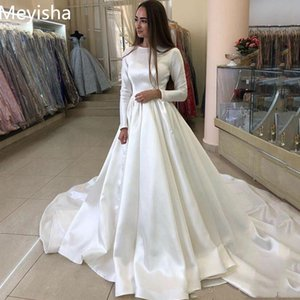 ZJ9243 Princess Wedding Dress Satin Long Sleeve Muslim Bride Dresses White Gown Plus Size 2-26W
