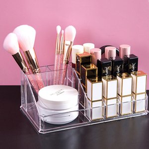 16 Grid Scatola di stoccaggio cosmetico Make up Organizer Rossetto Supporto Organizador Chiaro Display acrilico Display Cassa Pennello Pennello Trucco 210430