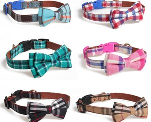 Colorful Plaid Grid Cat Collars Cotton Striped Bowknot Necklace Bulldog Chihuahua Bow Tie Puppy Small Dog Party Bandana Collar
