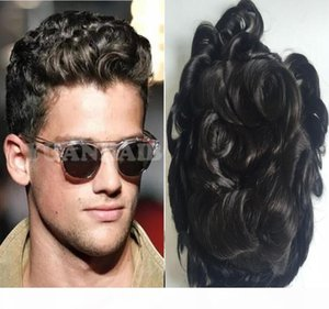 Natural Hairline Lace Front Afro Curl Toupee Wavy Full PU men toupee black colo hair full thin skin toupee hair replacement for men