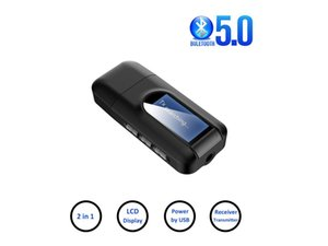 USB Bluetooth 5.0 Receiver Transmitter 2 in 1 Wireless Audio Adapter with LCD Display for Car TV PC Headphones