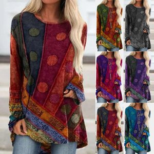 and Women's Popular National Style Printed Loose Long Sleeve Large Fashion T-shirt Sweater