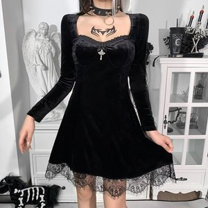 Casual Dresses InsGoth Gothic Lolita Bandage Black Dress Women Vintage Sexy Lace Puff Sleeve Aesthetic Elegant High Waist Party