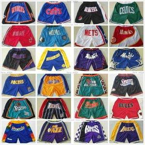Todos los equipos de baloncesto corto Just Don Shorts Retro Sport Desgaste con cremallera de bolsillo Sweetpants Pantalón negro azul blanco rojo 100% cosido Tamaño S-2XL