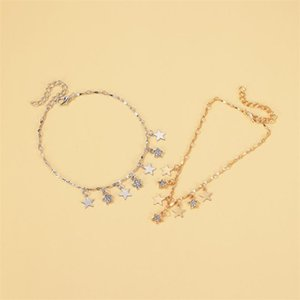 Anklets 2021 Gold Color Pentagram Tassel For Women Simple Zircon Star Pendant Ankle Foot Leg Chain Barefoot Beach Boho Jewelry