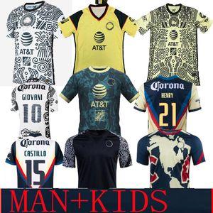 LIGA MX 21 22 Club America Soccer Jerseys Green Third Henry 3rd Giovani Caceres B.Valdez 2021 Casa Away Maillot Men Kit Kit Kit da calcio Camicie da allenamento