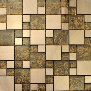 Wallpapers European Rose Gold Metal Amber Grain Shell Glass Mosaic Tile, Kitchen Backsplash Bathroom Showroom Wallpaper Wall Sticker
