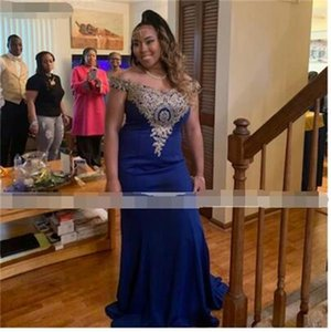 2021 Элегантная длинная черная девушка выпускного вечера платья с кружевом от плеча русалка Royal Blue выпускной вечерняя вечеринка официальные платья