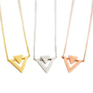 Fashion Triangle Insert Necklaces Pendant Geometric Superposition Triangle For Of Personality Necklaces Plated Women Gvqmv
