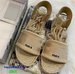 T121b Latest high quality 2021 stye real leather women sandals slippers fashion Hemp rope design strap sexy heels shoes banquet party sflip flop neakers casual