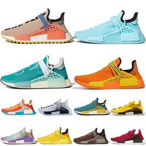 Adidas 36-47 NMD الجنس البشري Pharrell Williams الاحذية Hu trail رجل إمرأة أزياء طبقة البياض الأصفر الوردي الأحمر الأبيض المرأة الرياضة أحذية رياضية المدربين