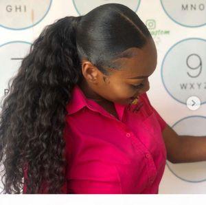 Глубокие вьющиеся человеческие волосы для волос для чернокожих женщин боковой части Ponytail прическа 1 шт. Drawstring Ponytail Natural 1b 140g