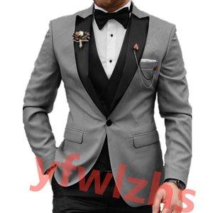 Custom-made One Button Groomsmen Peak Lapel Groom Tuxedos Men Suits Wedding Prom Dinner Man Blazer(Jacket+Pants+Tie+Vest) W923