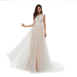 A-Line Wedding Dresses  Gown for Brides, Sequin Lace Bodice Bridal Gowns with Tulle Skirt and Belt