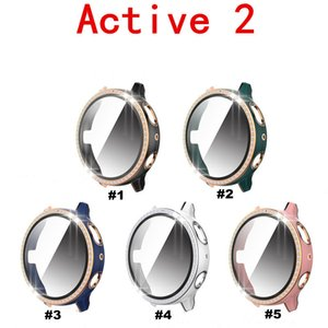 Hard PC Protective Cases Luxury Diamond Cover Bumper Shell For Galaxy Active 2 40mm 44mm Watch Case With Screen Protector