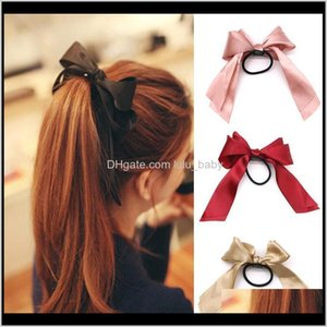 Bands Jewelry Drop Delivery 2021 Rubber Band Fashion Ladies Bowknot Elastic Ribbon Rope Big Girl Fabric Hairband Paty Hair Accessories Ps2754