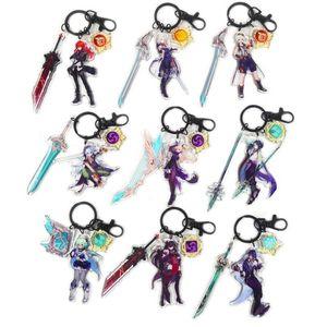 Diluc Ragnvindr Keychain Man Acrylic Key Chain Women Ring Project Kids Pendant High Quality Holder Brelok Genshin Impact Keychains