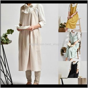 Aprons Textiles Home Garden Drop Delivery 2021 Est Vintage Women Lady Linen Cross Back Housework Baking Wrap Florist Dress Cafe Kitchen Cooki