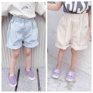 Korean style boys girls cotton shorts solid color soft casual all-match for children 210708