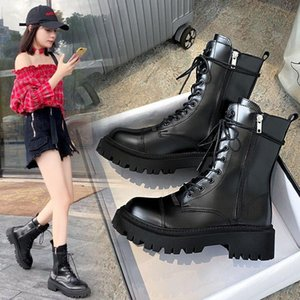 Women Boot Lace Up Ladies Ankle Female Buckle Strap Black Chunky Sole Pouch Boots Woman Platform Shoe Fashion Booties