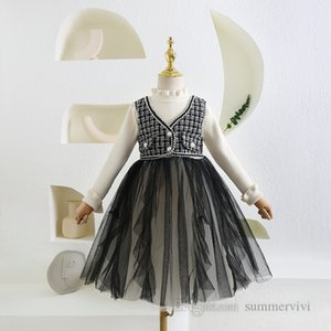 Girls plaid vest fake two piece dresses kids knitted ruffle collar flare sleeve splicing lace tulle dress children falbala gauze princess clothes Q2063