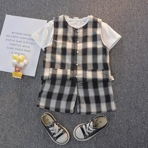 Infant Boy Summer Clothing Set Baby Girl Clothes Kid Plaid Vest+Cotton T-shirt+plaid Shorts 3Pieces Suit Toddler Sets