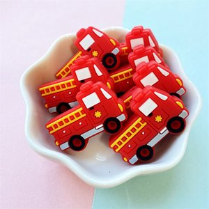50 100pcs Fire truck Silicone Beads Food Grade car Teether Animal BPA-Free Baby Teething Toy Pacifier Chain Accessories