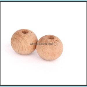 Loose Jewelrynatural Wood Color Round 20Mm 15Mm 12Mm 10Mm High Quality Lead- Wooden Beads Diy Jewelry Aessories Wholesale 437 T2 Drop Delive