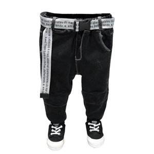 2021 Belt Children's Pants Kids Pants Baby Boys Jeans Plus Velvet For Baby Boys Denim Toddler Clothing 2-7 Years KO49 750 Y2