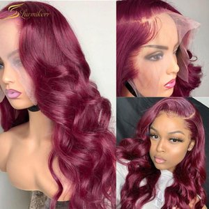 Lace Wigs Red 99J Burgundy Colored Loose Deep Wave Frontal Wig 13X4 13X6 HD Transparent Front 30 Inch Human Hair Pre Plucked Full