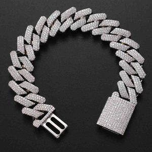 hip hop genuine gold plated 20mm solid cuban chain full of zircon big box buckle mens bracelet