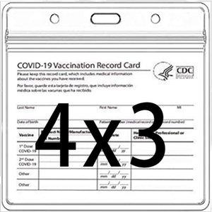 CDC-Impfkarten-Halter-Dateien Immunisierungs-Rekord-Impfkarten Protector-Abdeckung 3x4 klarer Vinyl-Kunststoffhülse wasserdicht wiederverschließbarer Reißverschluss
