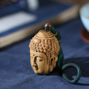 Decorative Objects & Figurines Ebony Guaiacum Wood 6cm Buddha And Demon Sculpture Pendant Carving Statue Feng Shui Car Hanging Home Decor
