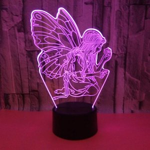 Table Lamps 3D Illusion Lamp Angle Butterfly USB Led Bedside Night Lights 16 Colors With Remote Control For Children Girls Gifts