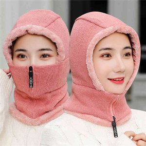 Fashion Zipper Women Winter Hats Plush Warm Balaclava Ladies Ring Hat With Full Face Mask Creative Breathable Facemask