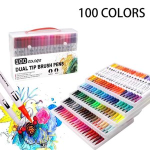 Dual Brush Pen Set Watercolor Art Markers with Two-Sided Tips, Bright and Vivid Colors, Acid Free 120 Different Shades