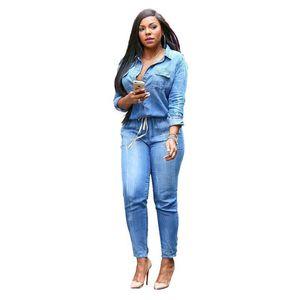 2021 New Womens Vintage Plus Tamaño Jeans Jumpsuit Romper Manga Larga Botón Monos para Mujeres Salto Traje Combinaison S-3XL
