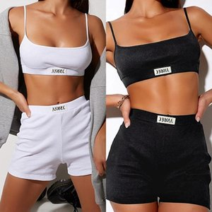 Summer Women Set Spaghetti Strap Crop Top And Mini Biker Shorts Embroidered Two Piece Sets Women's Tracksuits