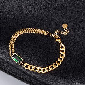 Shiny Green Color Rhinestone Crystal Bracelets Charm Elegant Stainless Steel Curb Cuban Wrist Chain Bracelets Women Jewelry