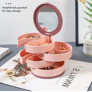Multilayer Rotating Plastic Stand Jewelry Storage Earrings Ring Box Cosmetics Beauty Container Organizer with Mirror