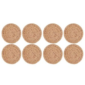 Pcs 11.8 Inch Round Hand-Woven Placemats,Wooden Heat Resistant Mats For Table, Coasters, Pots,Teapots In Kitchen & Pads