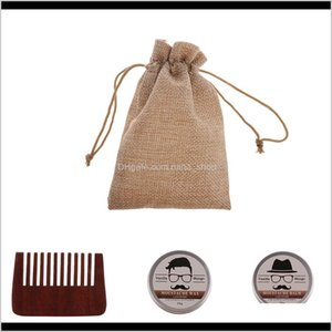 Other Hair Cares 3 In 1 Men'S Natural Beard Oil Balm Mustache Wax Grooming Brush Comb Kit+Bag Pagqt Od5Md