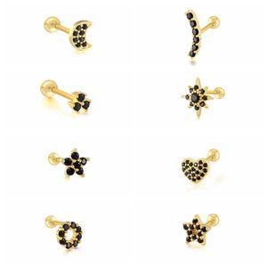 Aide 1Pair 925 Sterling Silver Black Zircon Stud Earrings For Women Piercing 2021 Simple Star Spiral Cartilage