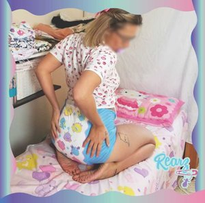 Canadian ABDL Diaper With Scent Cute Adult Baby High Absorb DDLG Daddy Daughter Small Space Happy L XL Cloth Diapers