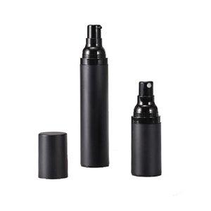 Plastique givré noir vide sous forme de bouteilles de pompe de pulvérisation sans air 15 ml 30 ml de distributeur de 50 ml pour liquide / lotion cosmétique