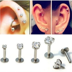 1Pc 2 3 4mm Zircon Stainless Steel Threaded Barbell Earring Stud Lip Ring Cartilage Bar Tragus Body Ear Piercing Jewelry